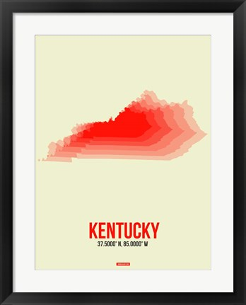 Framed Kentucky Radiant Map 1 Print