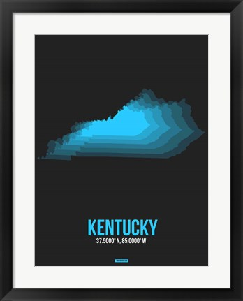 Framed Kentucky Radiant Map 5 Print