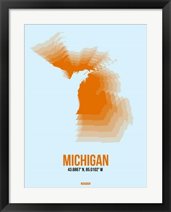 Framed Michigan Radiant Map 2 Print