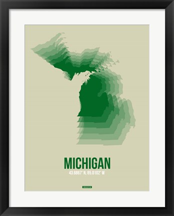 Framed Michigan Radiant Map 3 Print
