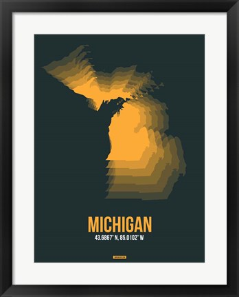 Framed Michigan Radiant Map 4 Print