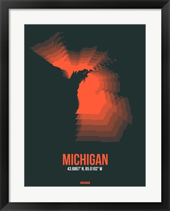 Framed Michigan Radiant Map 5 Print