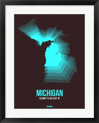 Framed Michigan Radiant Map 6 Print