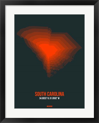 Framed South Carolina Radiant Map 4 Print
