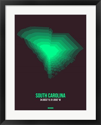 Framed South Carolina Radiant Map 6 Print