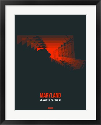Framed Maryland Radiant Map 5 Print