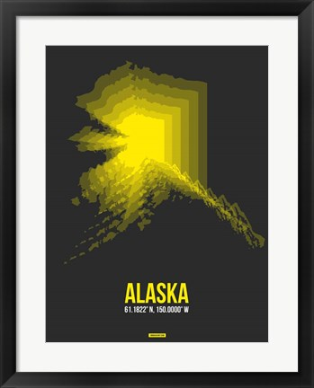 Framed Alaska Radiant Map 4 Print