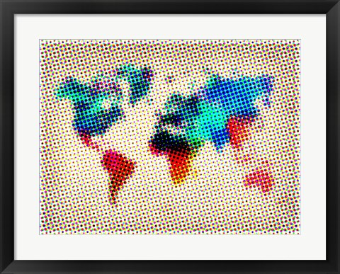 Framed Dotted World Map 1 Print