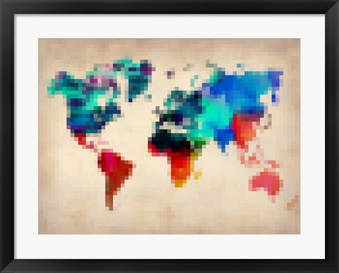 Framed Pixelated World Map Print