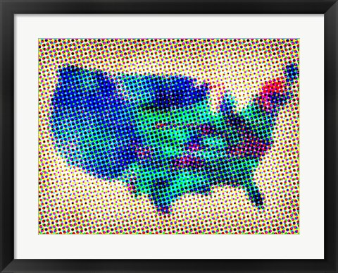 Framed Dotted Map of the USA Print