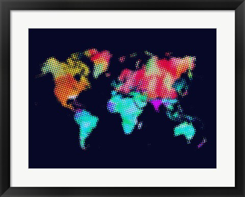 Framed Dotted World Map 5 Print