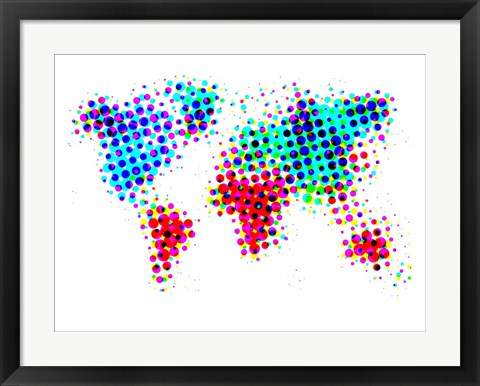 Framed Dotted World Map 6 Print