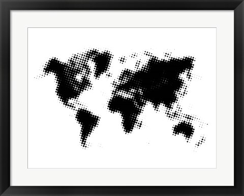 Framed Dotted Black World Map Print