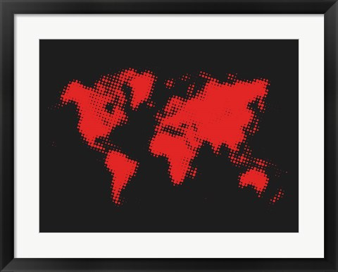Framed Dotted Red World Map Print
