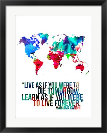 Framed World Map Quote Mahatma Gandi Print