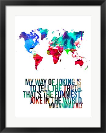 Framed World Map Quote Muhammad Ali Print