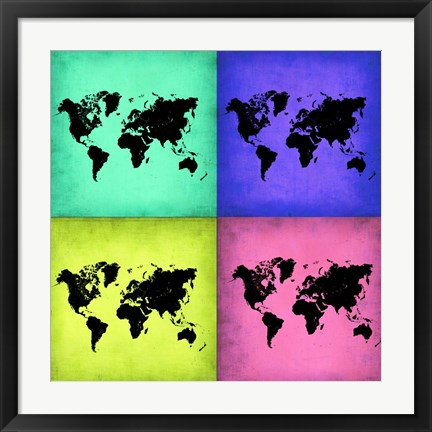 Framed Pop Art World Map 2 Print