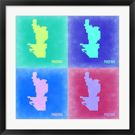 Framed Phoenix Pop Art Map 2 Print