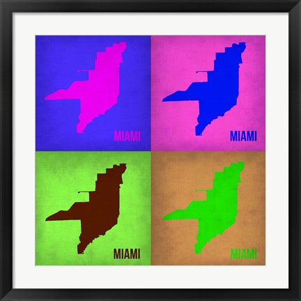 Framed Miami Pop Art Map 1 Print