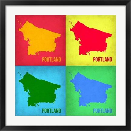 Framed Portland Pop Art Map 1 Print