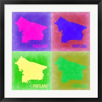 Framed Portland Pop Art Map 2 Print