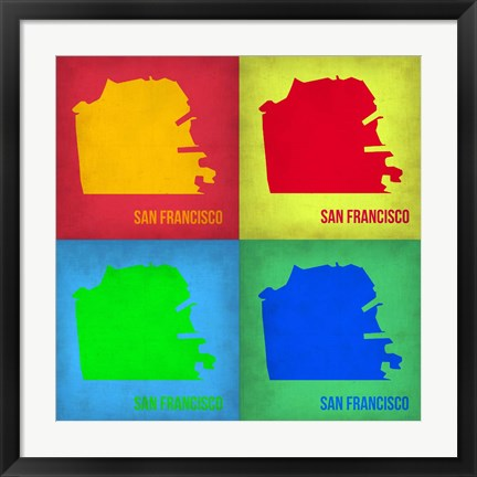 Framed San Francisco Pop Art Map 1 Print