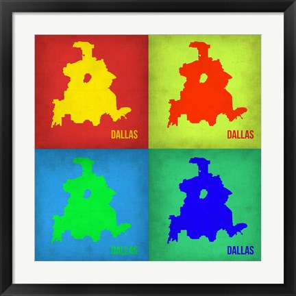 Framed Dallas Pop Art Map 1 Print