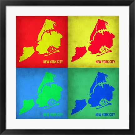 Framed New York Pop Art Map 1 Print