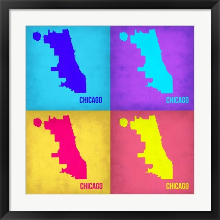 Framed Chicago Pop Art Map 1 Print