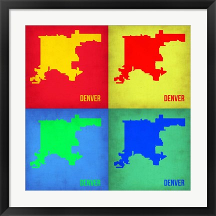Framed Denver DC Pop Art Map 1 Print