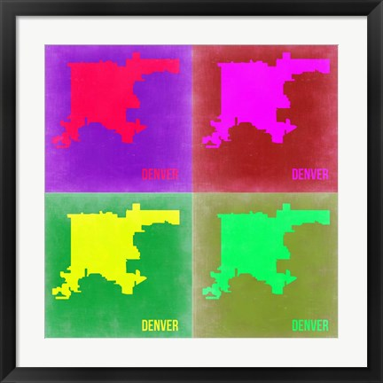 Framed Denver DC Pop Art Map 2 Print