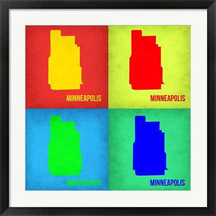 Framed Minneapolis Pop Art Map 1 Print