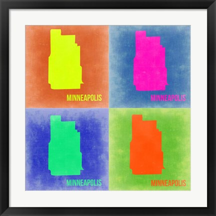 Framed Minneapolis Pop Art Map 2 Print