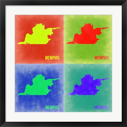 Framed Memphis Pop Art Map 2 Print