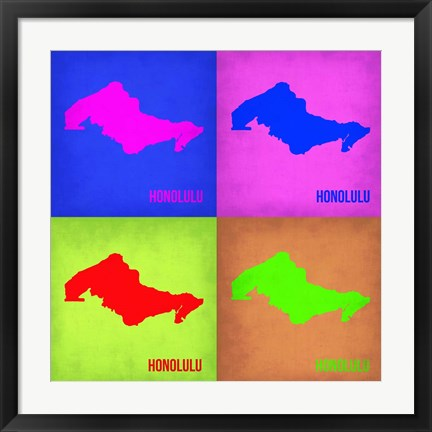 Framed Honolulu Pop Art Map 1 Print