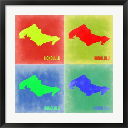 Framed Honolulu Pop Art Map 2 Print