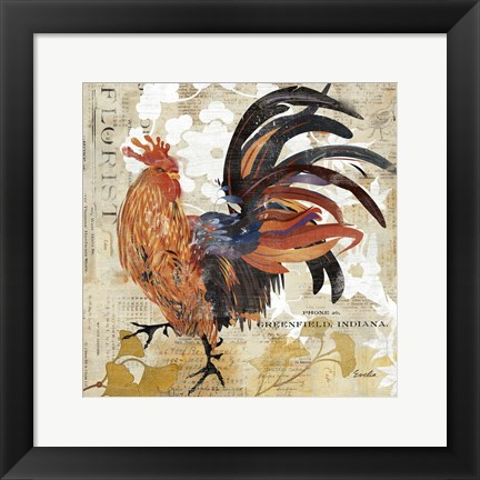 Framed Rooster Flair III Print