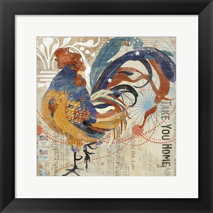 Framed Rooster Flair IV Print
