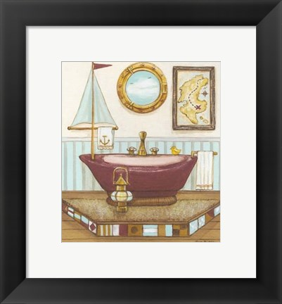 Framed Nautical Bath I Print