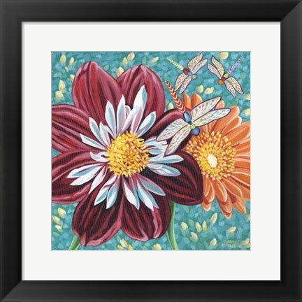Framed Dragonfly on Blooms I Print
