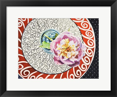 Framed Flower on Plate I Print