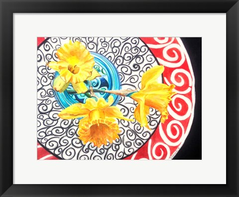 Framed Flower on Plate II Print