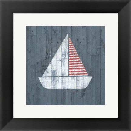 Framed Nautical Plank I Print