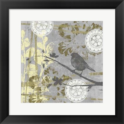 Framed Serene Bird & Branch I Print