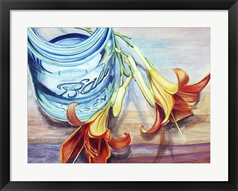 Framed Ball Jar Flower I Print