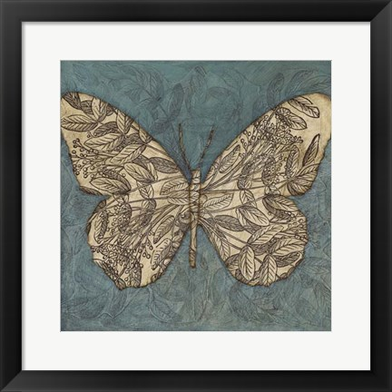 Framed Collage Butterfly I Print