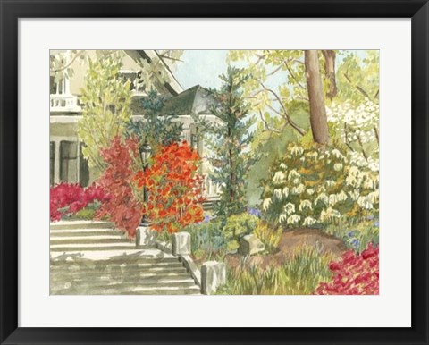 Framed Plein Air Garden I Print