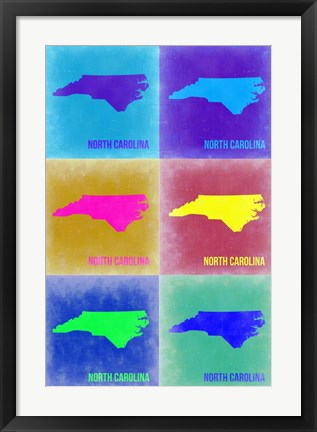 Framed North Carolina Pop Art Map 2 Print