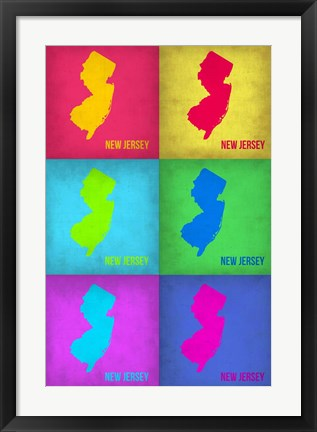 Framed New Jersey Pop Art Map 1 Print