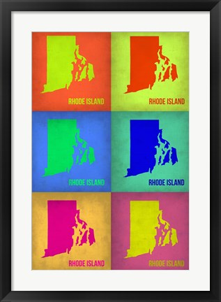 Framed Rhode Island Pop Art Map 1 Print
